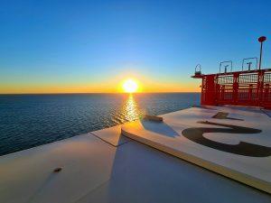 SOV sunset taken by wind turbine technician
