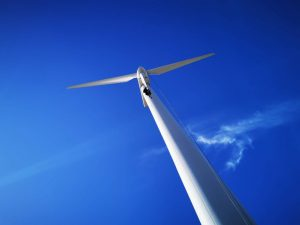 wind turbine technician, wind turbine, blue sky, working for gev