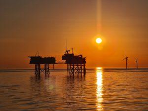 sunrise, wind turbine, offshore