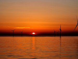 sunrise, wind turbine